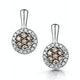 Stellato Champagne Diamond Halo Earrings 0.27ct in 9K White Gold - image 1