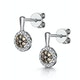 Stellato Champagne Diamond Halo Earrings 0.27ct in 9K White Gold - image 3