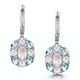 Rose Quartz Blue Topaz and Diamond Stellato Earrings in 9K White Gold - image 1