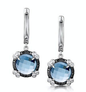 Blue Topaz Black Diamond and Diamond Stellato Earrings 9K White Gold