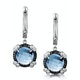 Blue Topaz Black Diamond and Diamond Stellato Earrings 9K White Gold - image 1