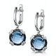 Blue Topaz Black Diamond and Diamond Stellato Earrings 9K White Gold - image 3