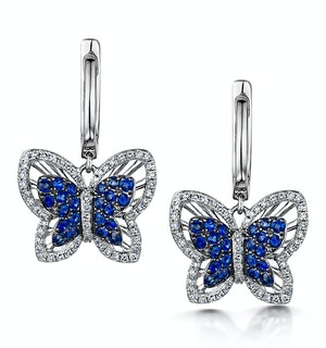 Sapphire and Diamond 0.34ct Stellato Butterfly Earrings 9K White Gold