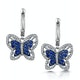 Sapphire and Diamond 0.34ct Stellato Butterfly Earrings 9K White Gold - image 1