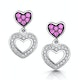 Pink Sapphire and Diamond Stellato Heart Earrings in 9K White Gold - image 1