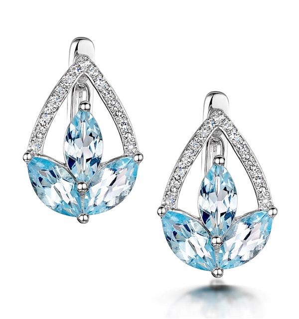 Blue Topaz and Diamond Stellato Earrings 0.09ct in 9K White Gold - image 1