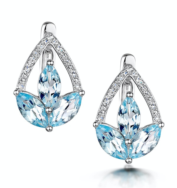 Blue Topaz and Diamond Stellato Earrings 0.09ct in 9K White Gold - image 1