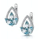 Blue Topaz and Diamond Stellato Earrings 0.09ct in 9K White Gold - image 3