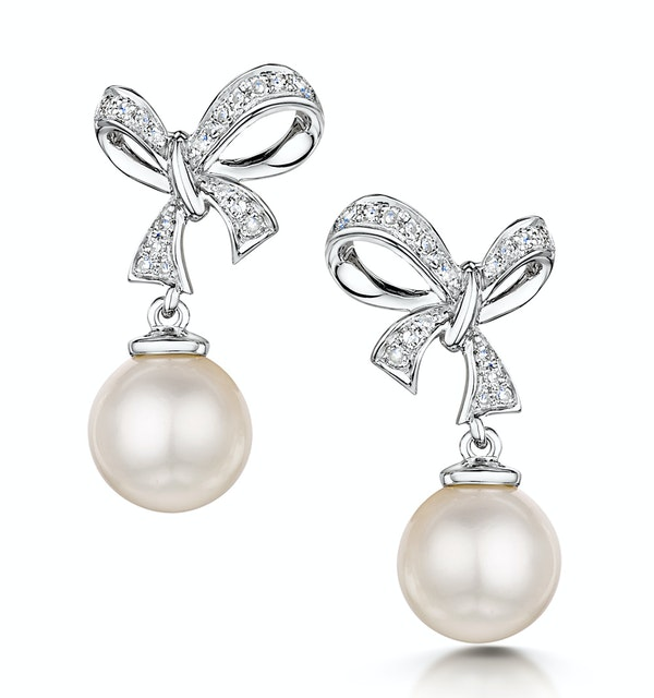 Pearl and Diamond Bow Stellato Earrings 0.10ct in 9K White Gold - image 1