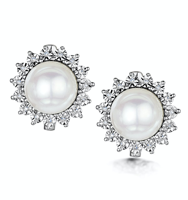 8.5mm Pearl and Diamond Stellato Earrings 0.08ct in 9K White Gold - image 1