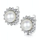 8.5mm Pearl and Diamond Stellato Earrings 0.08ct in 9K White Gold - image 3