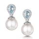 7.5mm Pearl Blue Topaz and Diamond Stellato Earrings in 9K White Gold - image 1