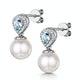 7.5mm Pearl Blue Topaz and Diamond Stellato Earrings in 9K White Gold - image 3