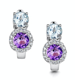 Amethyst Blue Topaz and Diamond Stellato Earrings in 9KW Gold  H4590