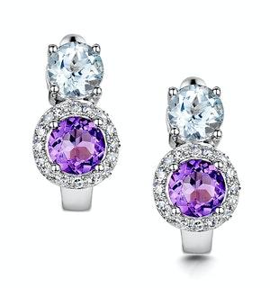 Amethyst Blue Topaz and Diamond Stellato Earrings in 9KW Gold  H4590