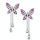 Pink Sapphire and Diamond Stellato Butterfly Earrings in 9K White Gold - image 1
