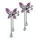 Pink Sapphire and Diamond Stellato Butterfly Earrings in 9K White Gold - image 3