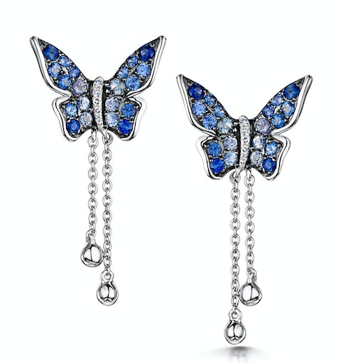 Stellato Collection Sapphire Butterfly Diamond Earrings 9K White Gold - image 1