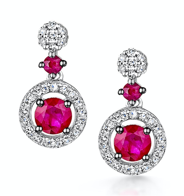 Stellato Collection Ruby and Diamond Earrings 0.16ct in 9K White Gold - image 1