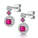 Stellato Collection Ruby and Diamond Earrings 0.16ct in 9K White Gold - image 3