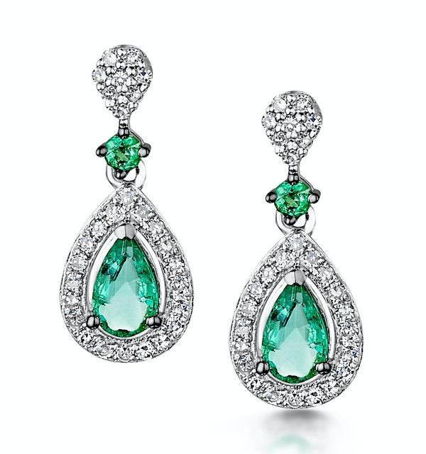 Stellato Collection Emerald and Diamond Earrings 0.18ct 9K White Gold - image 1
