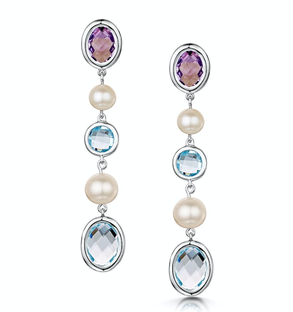 Pearl Amethyst and Blue Topaz Stellato Earrings in 9K White Gold - image 1