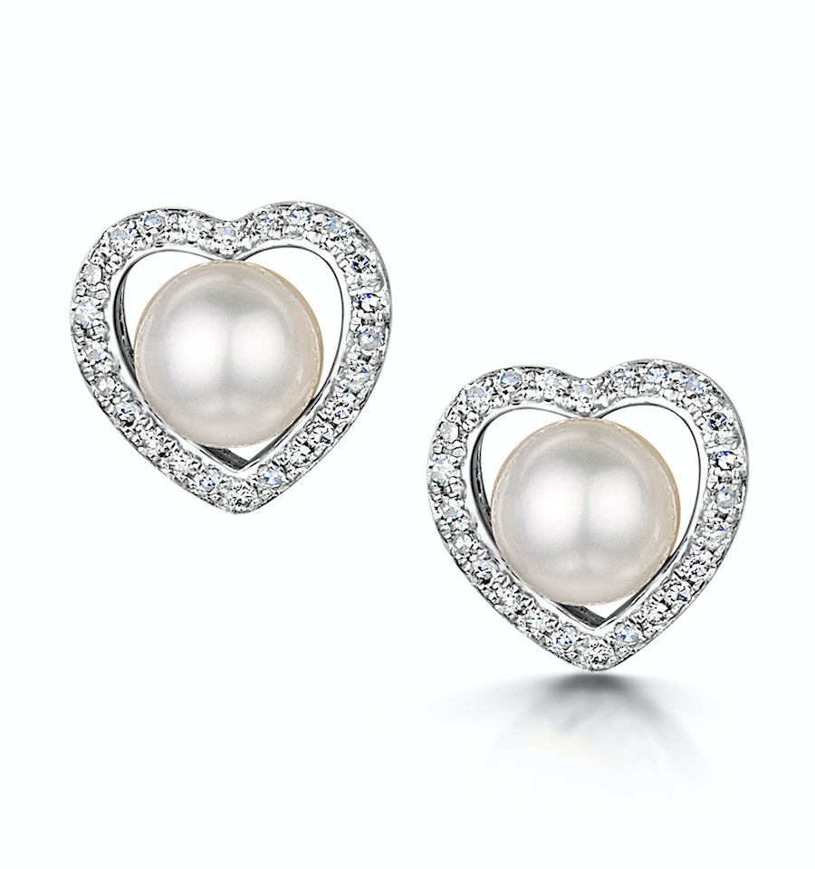 Stellato Collection Pearl And Diamond Heart Earrings In 9k White Gold Item H4507
