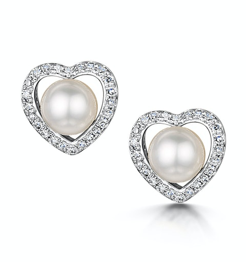 Stellato Collection Pearl and Diamond Heart Earrings in 9K White Gold - image 1