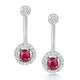 Stellato Collection Ruby and Diamond Earrings 0.12ct in 9K White Gold - image 1