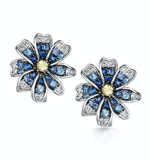 Sapphire Yellow Sapphire and Diamond Stellato Earrings 9K White Gold