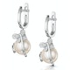 9mm Button Pearl and Diamond Stellato Earrings in 9K White Gold - image 3