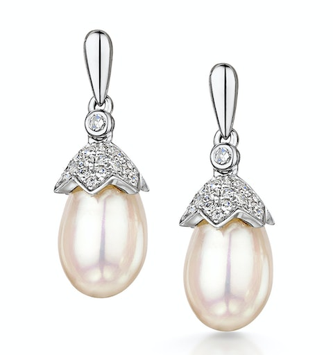 Stellato Pearl and Diamond Earrings 0.12ct in 9K White Gold  H4501 - image 1