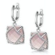 Rose Quartz and Diamond Stellato Earrings 0.28ct 9K White Gold - image 3