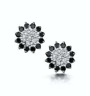 Black Diamond and Diamond Stellato Earrings in 9K White Gold