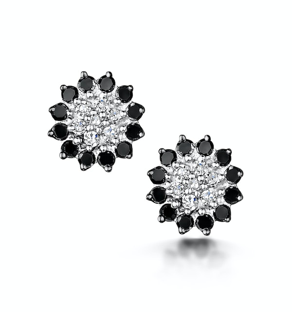 Black Diamond and Diamond Stellato Earrings in 9K White Gold - image 1