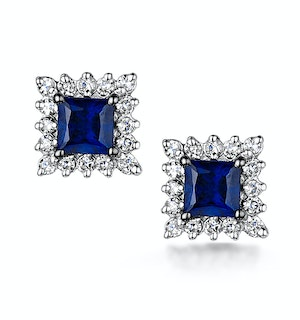 Stellato Collection Sapphire and Diamond Earrings in 9K White Gold
