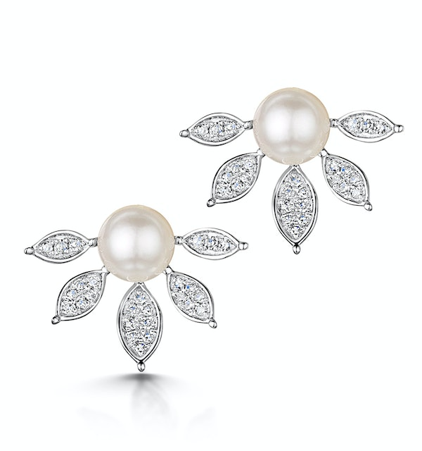 Stellato Collection Pearl and Diamond Earrings 0.12ct in 9K White Gold - image 1