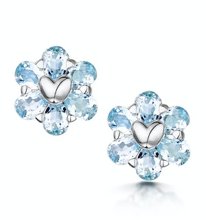 Stellato Collection Blue Topaz Earrings in 9K White Gold
