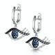 Black Diamond Sapphire Hamsa Evil Eye Stellato Earrings 9K White Gold - image 3