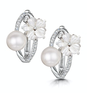 6mm Pearl Shell and Diamond Stellato Earrings 0.11ct in 9K White Gold