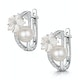 6mm Pearl Shell and Diamond Stellato Earrings 0.11ct in 9K White Gold - image 3