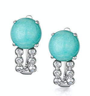 8mm Amazonite and Diamond Stellato Earrings in 9K White Gold
