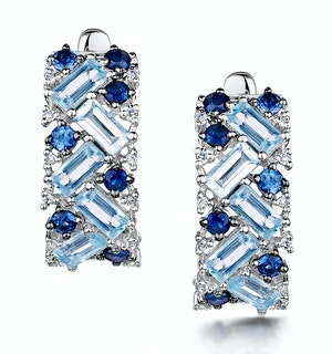 Blue Topaz Sapphire and Diamond Stellato Earrings in 9K White Gold
