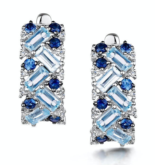 Blue Topaz Sapphire and Diamond Stellato Earrings in 9K White Gold - image 1