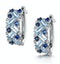 Blue Topaz Sapphire and Diamond Stellato Earrings in 9K White Gold - image 3