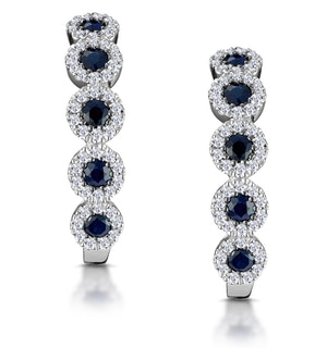0.43ct Sapphire and Diamond Stellato Earrings in 9K White Gold