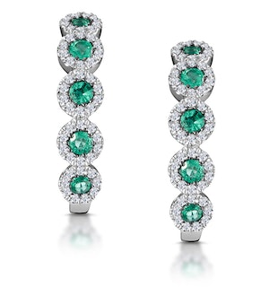0.33ct Emerald and Diamond Stellato Earrings in 9K White Gold
