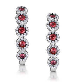 0.38ct Ruby and Diamond Earrings in 9K White Gold Stellato Collection