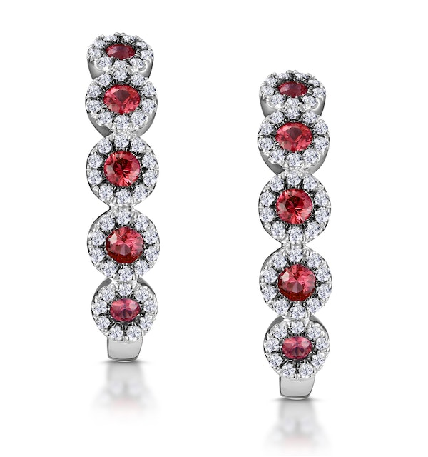 0.38ct Ruby and Diamond Earrings in 9K White Gold Stellato Collection - image 1