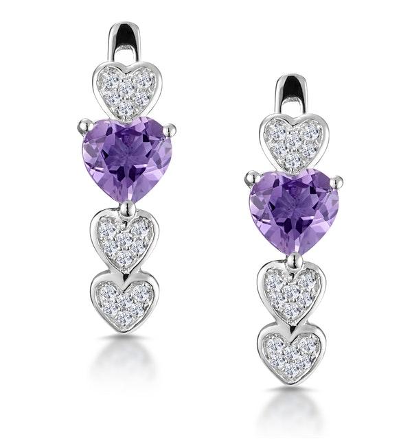 0.64ct Amethyst and Diamond Stellato Heart Earrings in 9K White Gold - image 1